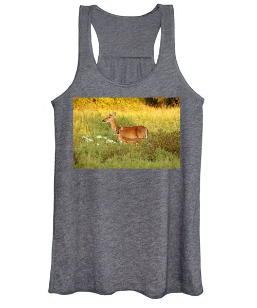 White-tail Doe And Fawn In Meadow Women's Tank Top