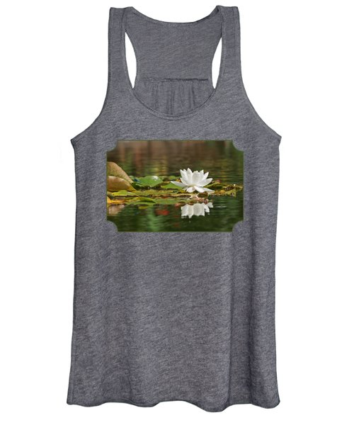 White Water Lily With Damselflies Women's Tank Top