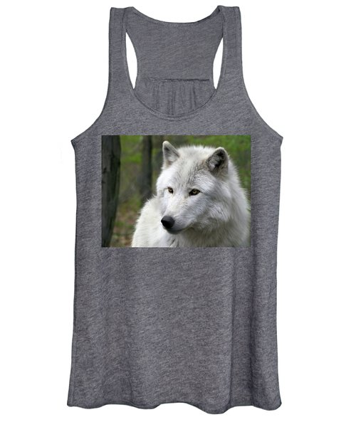 White Wolf With Golden Eyes Women's Tank Top