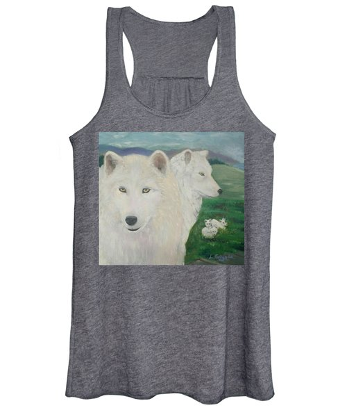 White Wolves Guarding Their Pups Women's Tank Top