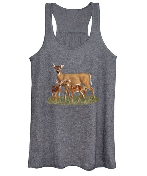 Whitetail Doe And Fawns - Mom's Little Spring Blossoms Women's Tank Top