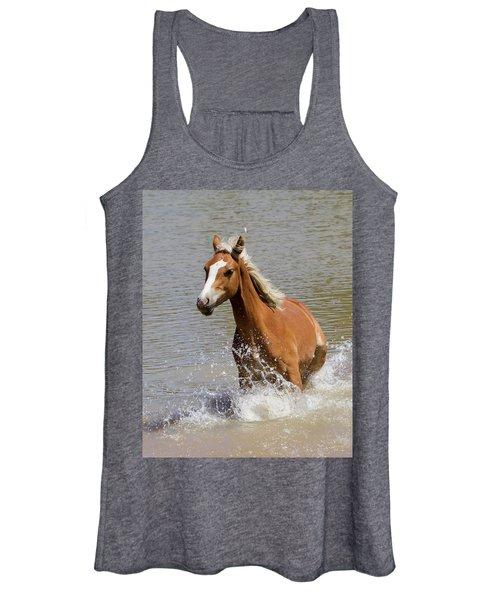 Wild Horse Splashing At The Water Hole Women's Tank Top