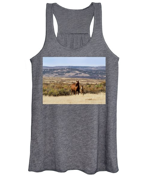Wild Mare With Young Foal In Sand Wash Basin Women's Tank Top