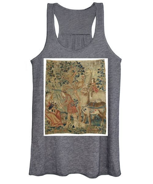Wildmen And Animals In A Landscape Fragment, Anonymous, C. 1500 - C. 1520 Women's Tank Top