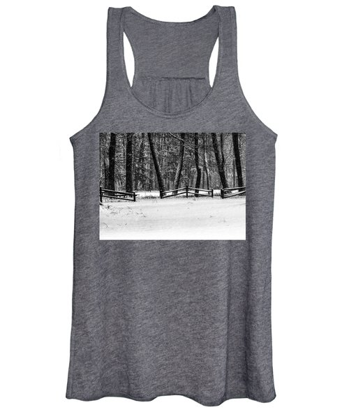 Winter Fences In Black And White  Women's Tank Top