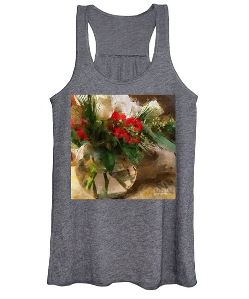 Winter Flowers In Glass Vase Women's Tank Top