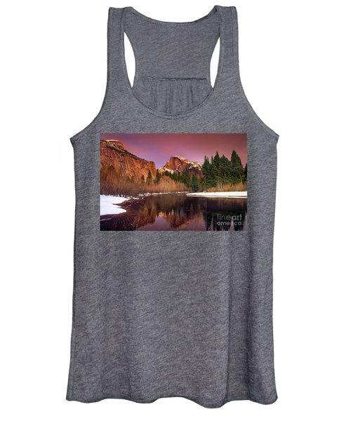 Winter Sunset Lights Up Half Dome Yosemite National Park Women's Tank Top