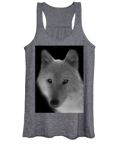 Wolf - Black And White Women's Tank Top