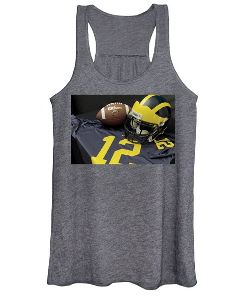 Wolverine Helmet With Football And Jersey Women's Tank Top