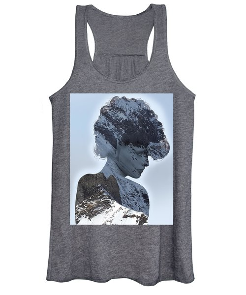 Woman And A Snowy Mountain Women's Tank Top