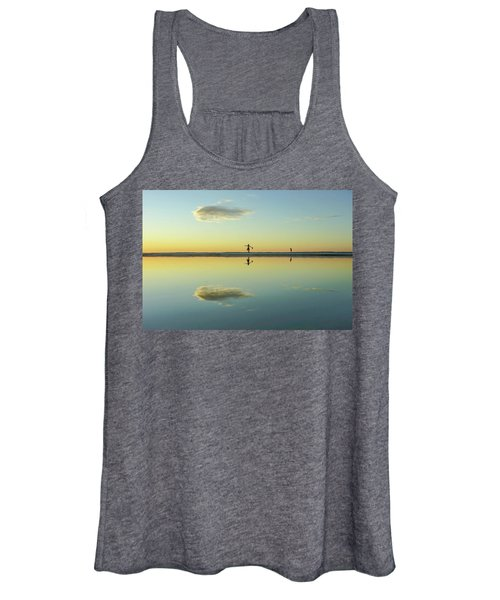 Woman And Cloud Reflected On Beach Lagoon At Sunset Women's Tank Top