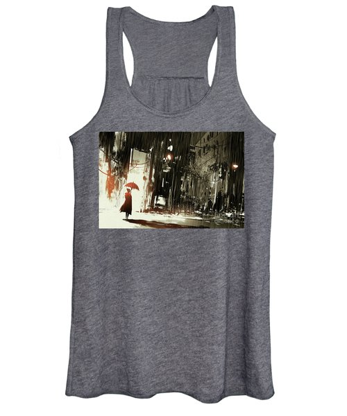 Women's Tank Top featuring the painting Woman In The Destroyed City by Tithi Luadthong