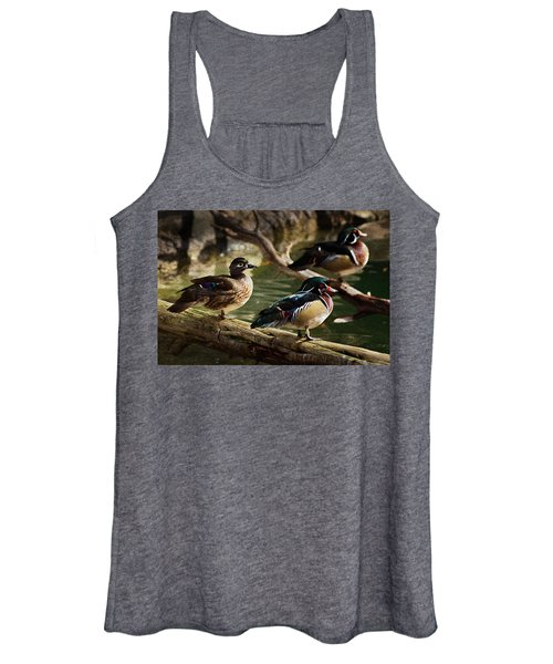 Wood Ducks Posing On A Log Women's Tank Top