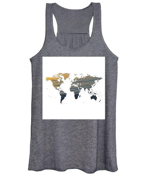 World Map - Ocean Texture Women's Tank Top
