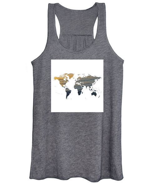 World Map - Ocean Texture Women's Tank Top