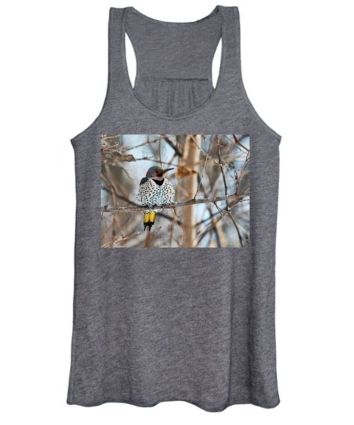 Yellow-shafted Northern Flicker Staying Warm Women's Tank Top