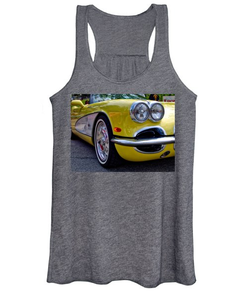 Women's Tank Top featuring the photograph Yellow Vette by Michael Colgate