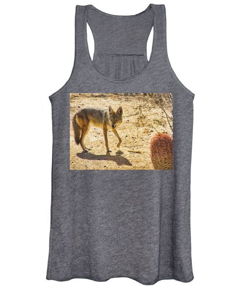 Young Coyote And Cactus Women's Tank Top