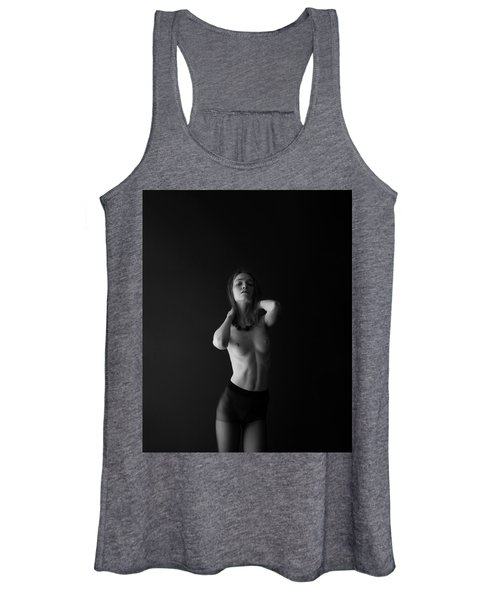 Young Woman In Pantyhose In Front Of Black Wall Women's Tank Top