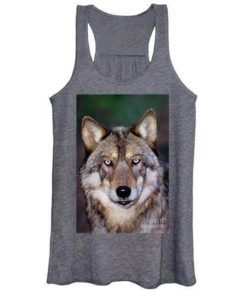Gray Wolf Portrait Endangered Species Wildlife Rescue Women's Tank Top