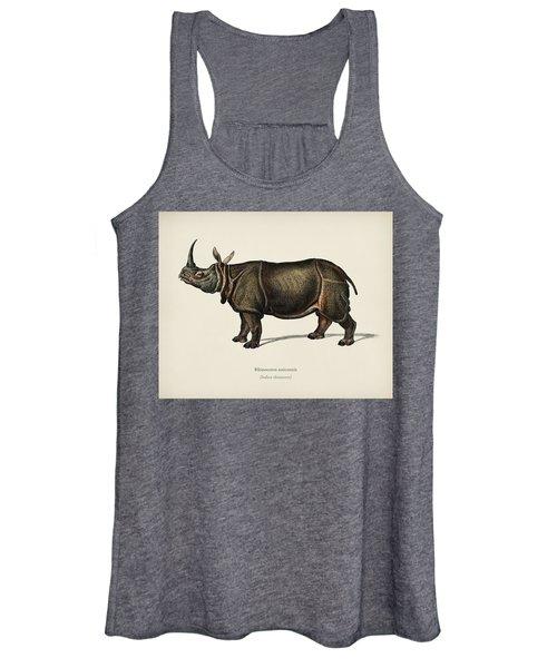 Indian Rhinoceros  Rhinoceros Unicornis  Illustrated By Charles Dessalines D  Orbigny  1806 1876  Women's Tank Top