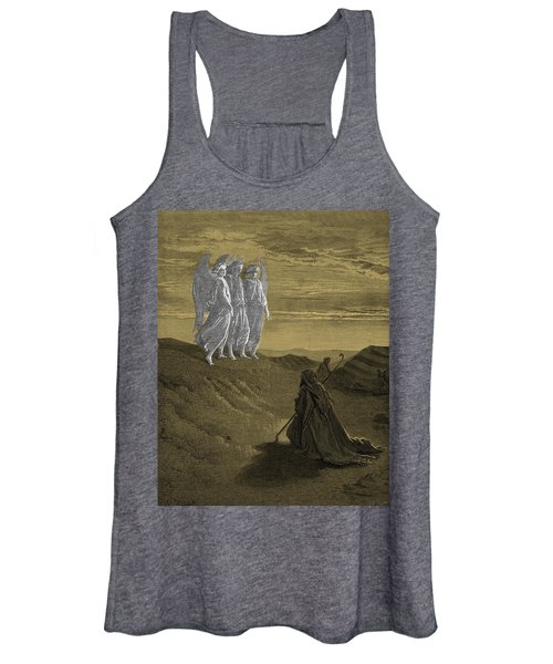 Abraham And The Three Angels, Drawing By Gustave Dore Women's Tank Top