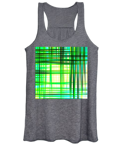 Abstract Design With Lines Squares In Green Color Waves - Pl409 Women's Tank Top