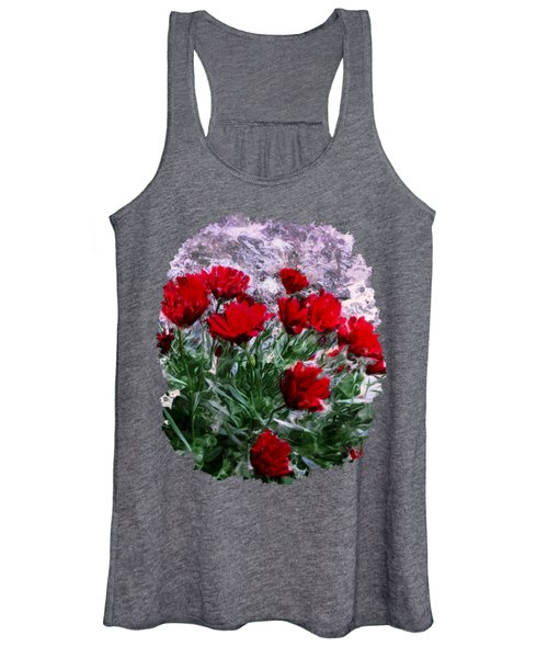African Daisies Red With Wall Watercolor Women's Tank Top