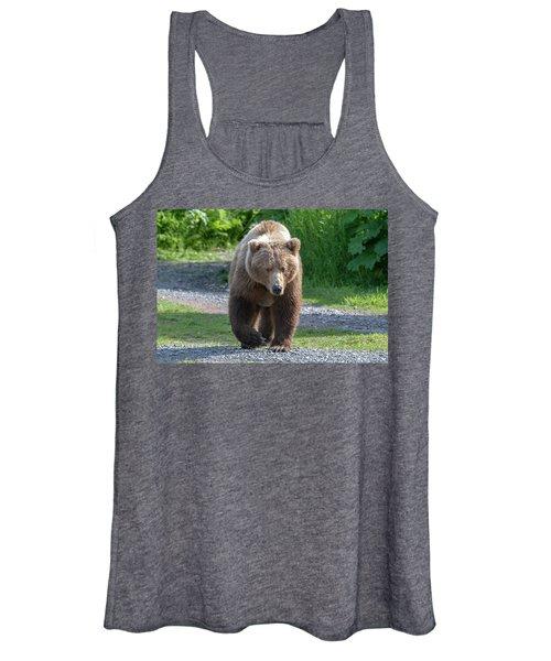 Alaskan Brown Bear Walking Towards You Women's Tank Top