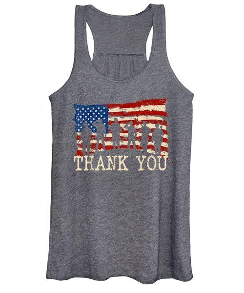 American Flag Tshirts Thank You Veterans Women's Tank Top