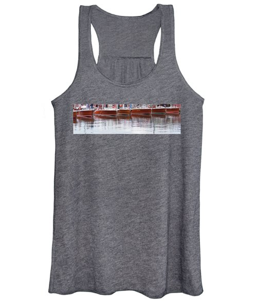 Antique Classic Wooden Boats In A Row Panorama 81112p Women's Tank Top