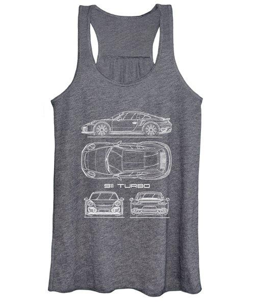 911 Turbo 991 Blueprint Women's Tank Top