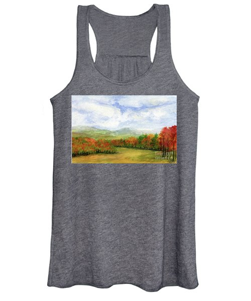 Autumn Day Watercolor Vermont Landscape Women's Tank Top