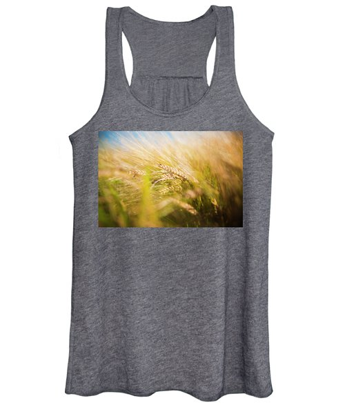 Background Of Ears Of Wheat In A Sunny Field. Women's Tank Top
