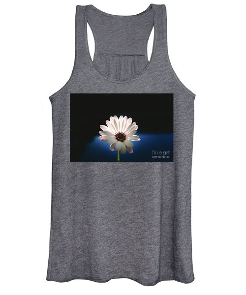 Beautiful And Delicate White Female Flower Dark Background Illum Women's Tank Top