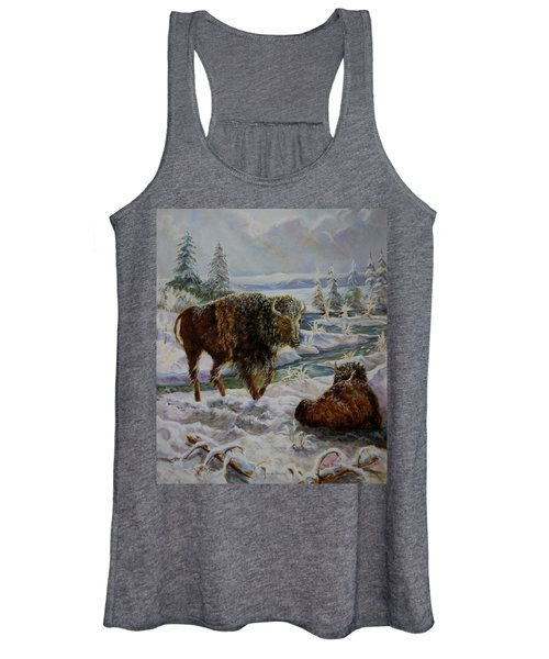 Bison In Yellowstone In The Winter Women's Tank Top