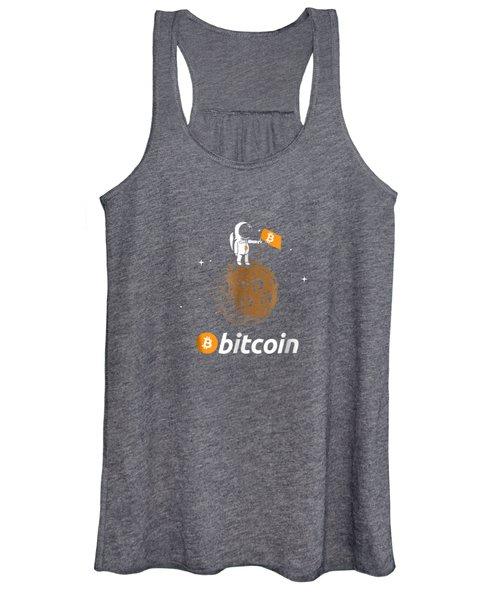 Bitcoin Btc Crypto To The Moon Shirt Featuring Astronaut Women's Tank Top
