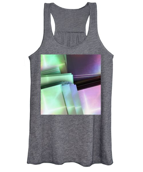 Blank Reflective Aluminum Plates. Blue, Pink And Purple. Fashion Abstract Background. Women's Tank Top