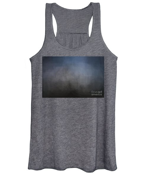 Blue Gray Abstract Background With Blurred Geometric Shapes. Women's Tank Top