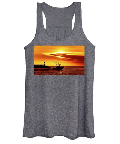 Boat Headed Out Of Jupiter Inlet Women's Tank Top