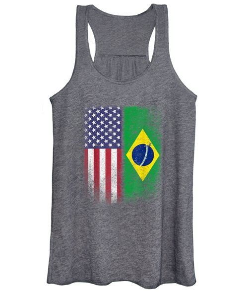 Brazil Usa Flag Brazilian American Gift Bandeira Do Brasil L Women's Tank Top