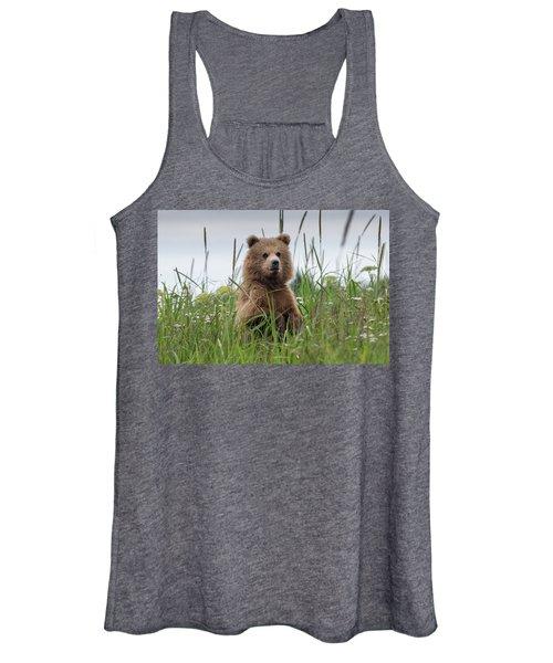 Brown Bear Cub In A Meadow Women's Tank Top