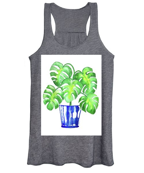 Chinoiserie Monstera Leaf Women's Tank Top