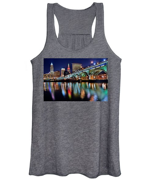 Cleveland Ohio Skyline Reflects Colorfully Women's Tank Top