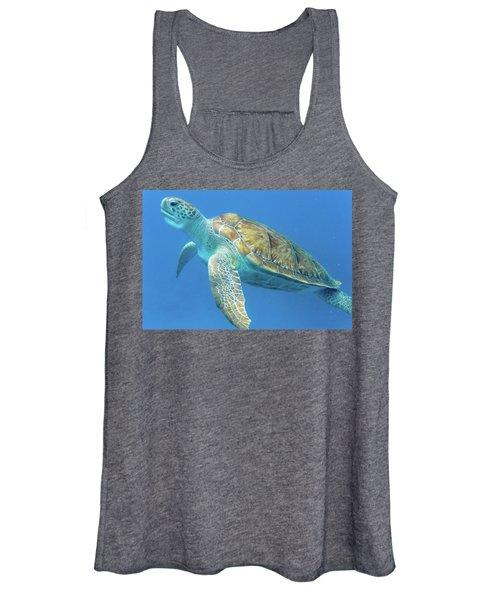 Close Up Sea Turtle Women's Tank Top