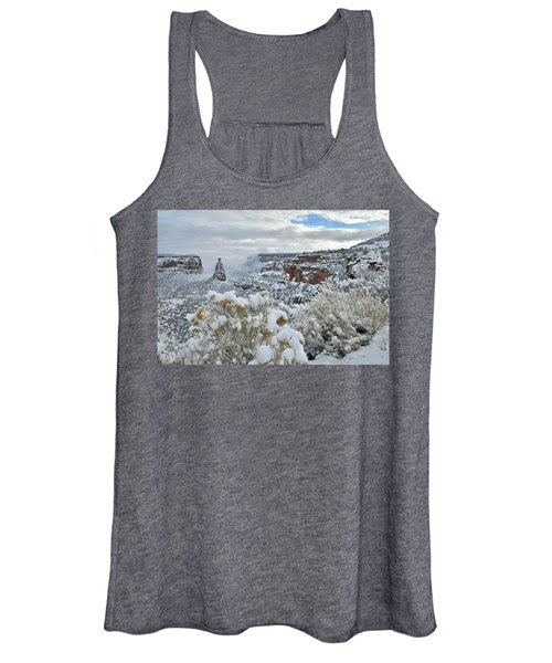 Clouds Break Over Snow Covered Independence Canyon Women's Tank Top