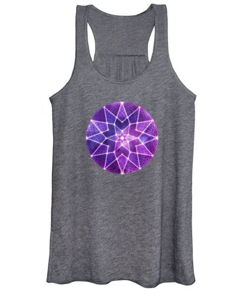 Cosmic Purple Geometric Seed Of Life Crystal Lotus Star Mandala Women's Tank Top