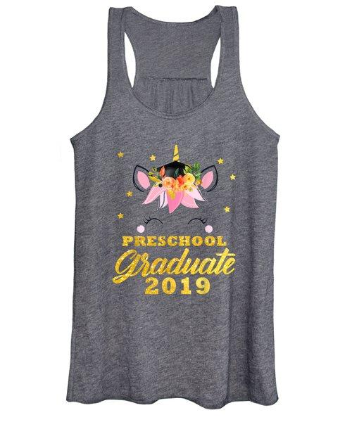 Cute Unicorn Face Flower Graduation Preschool Tshirt Gifts Women's Tank Top