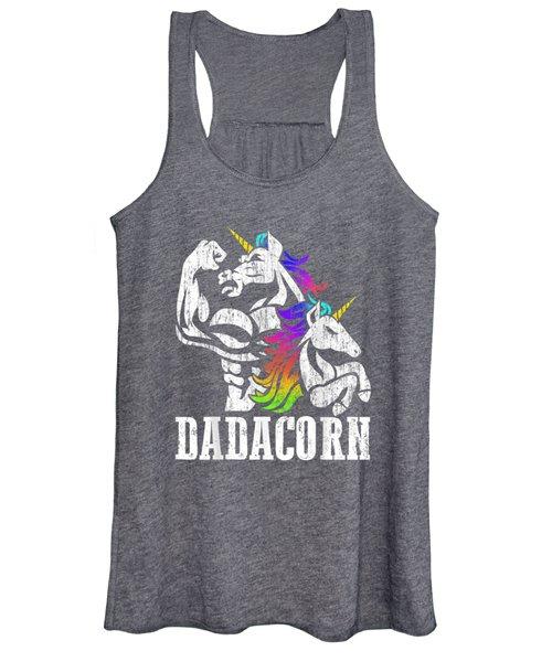 Dadacorn T Shirt Muscle Unicorn Dad Baby Fathers Day Gift Women's Tank Top