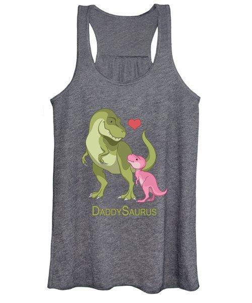 1664e8e88ef002 Daddysaurus Tyrannosaurus Rex And Baby Girl Dinosaurs Women s Tank Top
